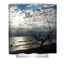 Sunrise Prayer On The Beach Shower Curtain by Allan  Hughes