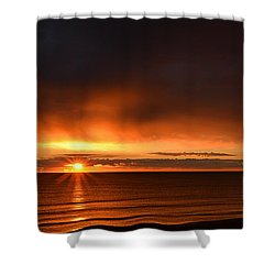 Sunrise Rays Shower Curtain by Nancy Landry