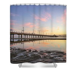 Sunrise Reflections At The Shorncliffe Pier Shower Curtain