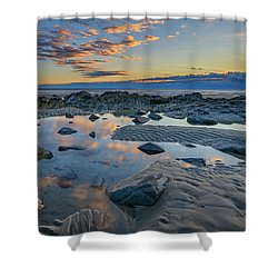Shower Curtain featuring the photograph Sunrise Reflections On Wells Beach by Rick Berk