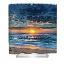 Sunrise Seascape With Footprints In The Sand Shower Curtain