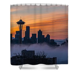 Sunrise Seattle Skyline Above The Fog Shower Curtain by Mike Reid