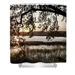 Shower Curtain featuring the photograph Sunrise Silhouette by Susan Cole Kelly