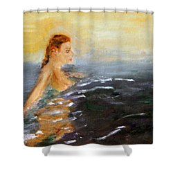 Shower Curtain featuring the painting Sunrise Swim by Michael Helfen