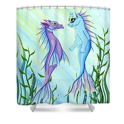 Shower Curtain featuring the painting Sunrise Swim - Sea Dragon Mermaid Cat by Carrie Hawks