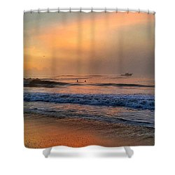 Boat In The Haze Shower Curtain