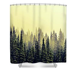 Sunrise Through The Pines Shower Curtain