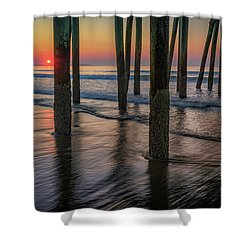Shower Curtain featuring the photograph Sunrise Under The Pier by Rick Berk
