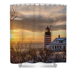 Shower Curtain featuring the photograph Sunrise West Quoddy Lighthouse by Trace Kittrell