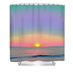 Sunrise With Digits Shower Curtain by Cloe Couturier