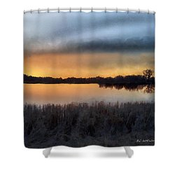 Sunrise On A Frosty Marsh Shower Curtain by RC deWinter