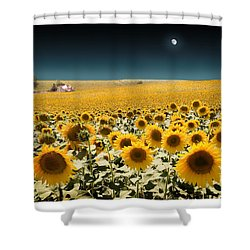 Suns And A Moon Shower Curtain by Mal Bray