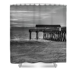 Shower Curtain featuring the photograph Suns Up Tybee Pier Bw Tybee Island Georgia Art by Reid Callaway