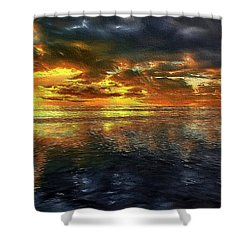 Sunset #95 Or Sunset Over The Atlantic. Shower Curtain by Alex Galkin