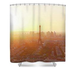 Sunset Above Paris Shower Curtain