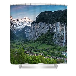 Sunset Above The Lauterbrunnen Valley Shower Curtain