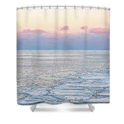 Sunset Across The Frozen Lake Shower Curtain