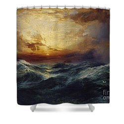 Sunset After A Storm Shower Curtain by Thomas Moran