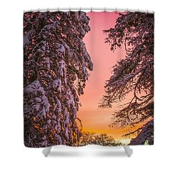 Sunset After Snow Shower Curtain by Mike Ste Marie