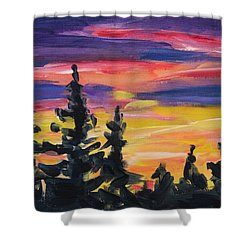 Shower Curtain featuring the painting Sunset Alaska by Yulia Kazansky