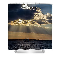 Sunset And A Three Masted Schooner Shower Curtain
