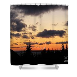 Sunset And Dark Clouds Shower Curtain by Barbara Griffin