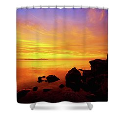 Sunset And Fire Shower Curtain by Chad Dutson