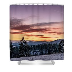 Sunset And Mountains Shower Curtain