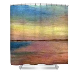 Sunset And Pier Shower Curtain