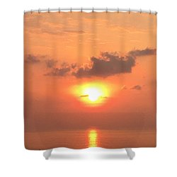 Shower Curtain featuring the photograph Sunset And Sailboat by Karen Nicholson