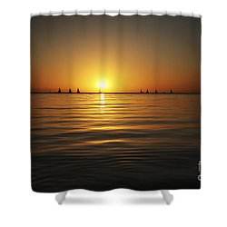 Sunset And Sailboats Shower Curtain by Brandon Tabiolo - Printscapes