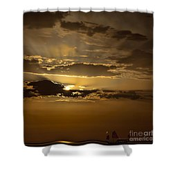 Shower Curtain featuring the photograph Sunset And Sanpan by Shirley Mangini