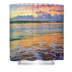 Shower Curtain featuring the photograph Sunset And Sea Foam by Tara Turner