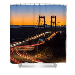 Shower Curtain featuring the photograph Sunset And Streaks Of Light - Narrows Bridges Tacoma Wa by Rob Green
