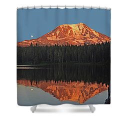 Sunset And Moonrise At Takhlakh Lake Shower Curtain