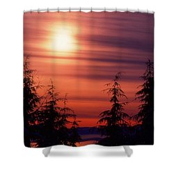 Sunset And Trees Two  Shower Curtain by Lyle Crump