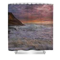 Sunset And Waves At Cape Kiwanda Shower Curtain by David Gn