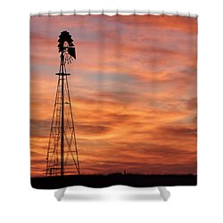 Sunset And Windmill 04 Shower Curtain by Rob Graham