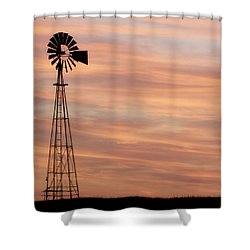 Sunset And Windmill 05 Shower Curtain