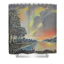 Sunset Angler Shower Curtain