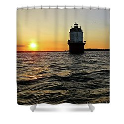 Sunset At Baltimore Light  Shower Curtain
