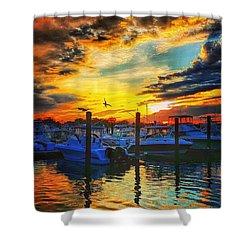Sunset At Belmar Marina Shower Curtain