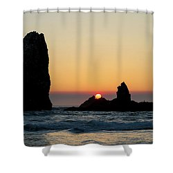 Sunset At Cannon Beach Shower Curtain by David Gn