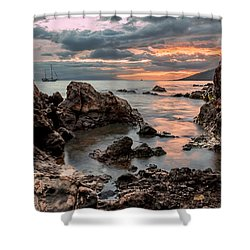 Shower Curtain featuring the photograph Sunset At Charley Young Beach by Susan Rissi Tregoning
