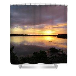Sunset At Ding Darling Shower Curtain by Melinda Saminski