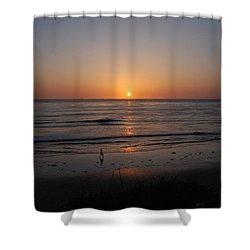 Sunset At Eljio Beach California Shower Curtain by Susanne Van Hulst