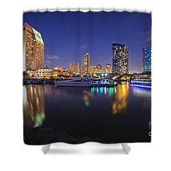 Sunset At Embarcadero Marina Park In San Diego Shower Curtain