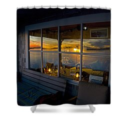 Sunset At Fletchers Camp Shower Curtain by Charles Harden