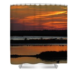 Shower Curtain featuring the photograph Sunset At Forsythe Reserve 2 by Melinda Saminski
