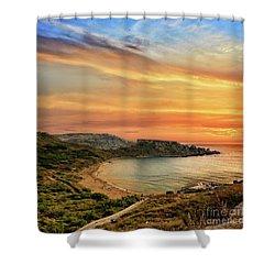 Sunset At Ghajn Tuffieha Shower Curtain by Stephan Grixti